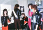 NY Fashion Week, Shanon-Gallo launches their leather line. Debbie, Paul, Toni, Liz and Emilia. March 1984.